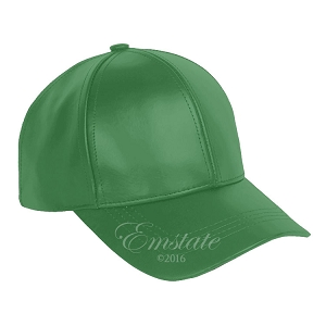 Kelly Green Leather Baseball Cap