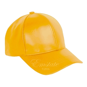 Yellow Leather Baseball Cap
