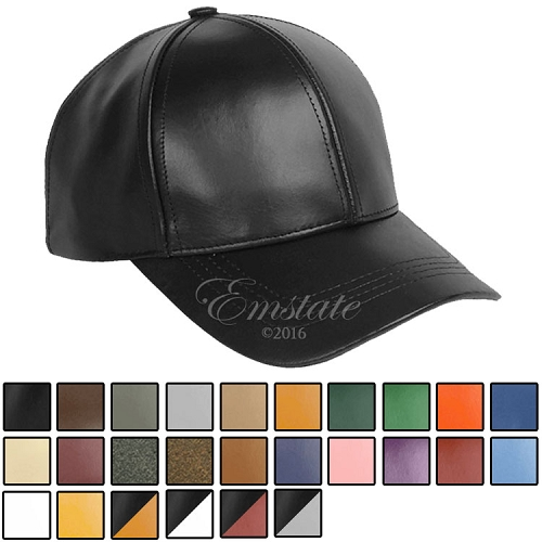 Emstate Genuine Cowhide Leather Baseball Cap 26 Different Colors