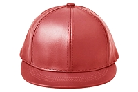 Red Leather Short Visor Jockey Cap