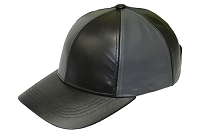Black/Dark Grey Patch Combo Leather Baseball Cap
