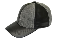 Black/Distressed Black Patch Combo Leather Baseball Cap
