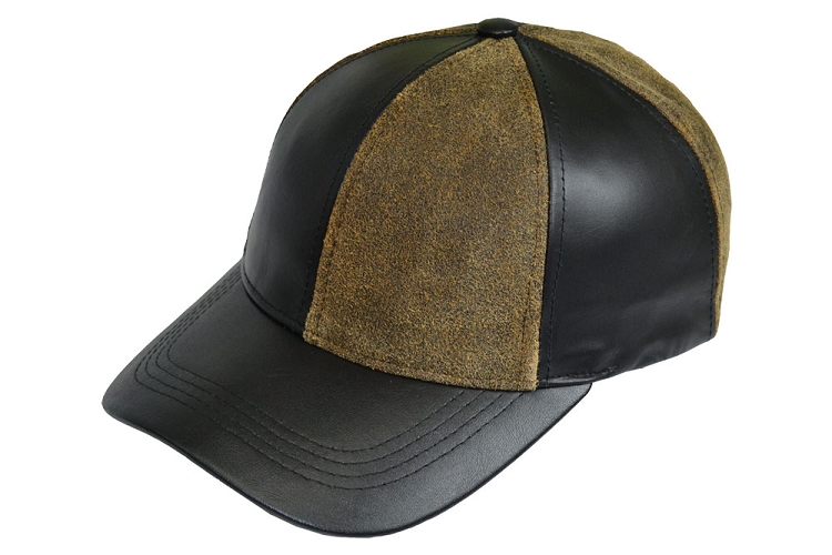 Black Distressed Brown Leather Patch Combo Baseball Cap