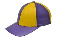 Purple/Yellow Patch Combo Leather Baseball Cap