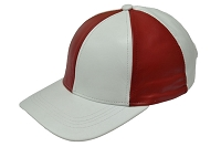White/Red Patch Combo Leather Baseball Cap