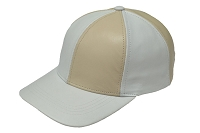 White/Bone Patch Combo Leather Baseball Cap