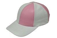 White/Pink Patch Combo Leather Baseball Cap