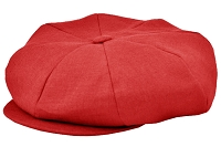 Red Linen Big Applejack Cap