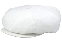 White Linen Big Applejack Cap