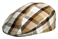 Brown Plaid Irish Linen Ascot Ivy Cap