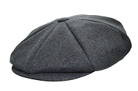 Charcoal Grey Melton Wool 8 Panel Applejack Newsboy One Size