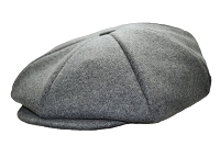 Heather Grey Melton Wool 8 Panel Applejack Newsboy One Size