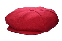 Red Melton Wool 8 Panel Applejack Newsboy One Size