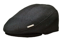 Black Emstate Wool Ascot Ivy Flat Gatsby Driver Cap
