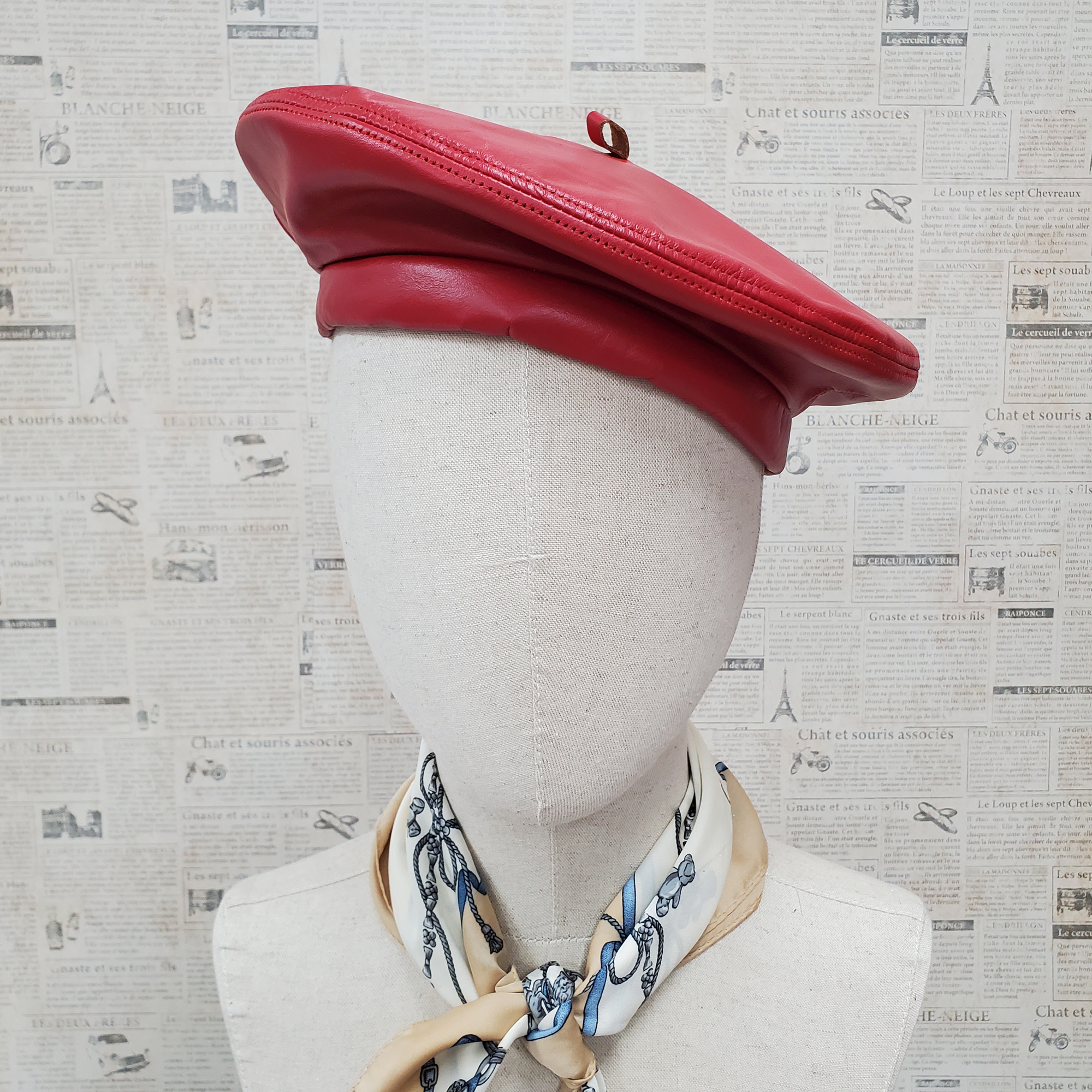 Red Genuine Leather Beret