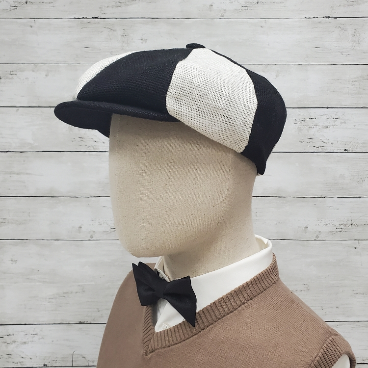 Black and White Patch Burlap Apple Newsboy Cap