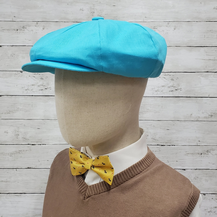 Aqua Linen Apple Newsboy Cap