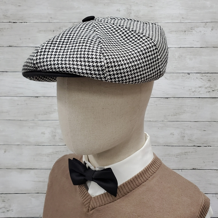 Black Houndstooth Linen Apple Newsboy Cap