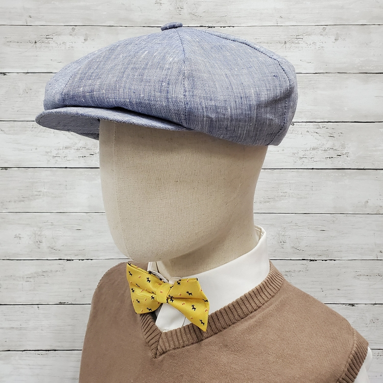 Chambray Blue Linen Apple Newsboy Cap