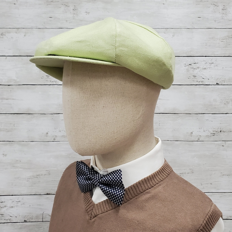 Lime Linen Apple Newsboy Cap