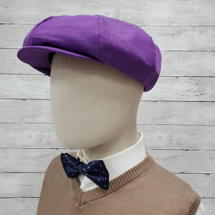 Purple Linen Apple Newsboy Cap