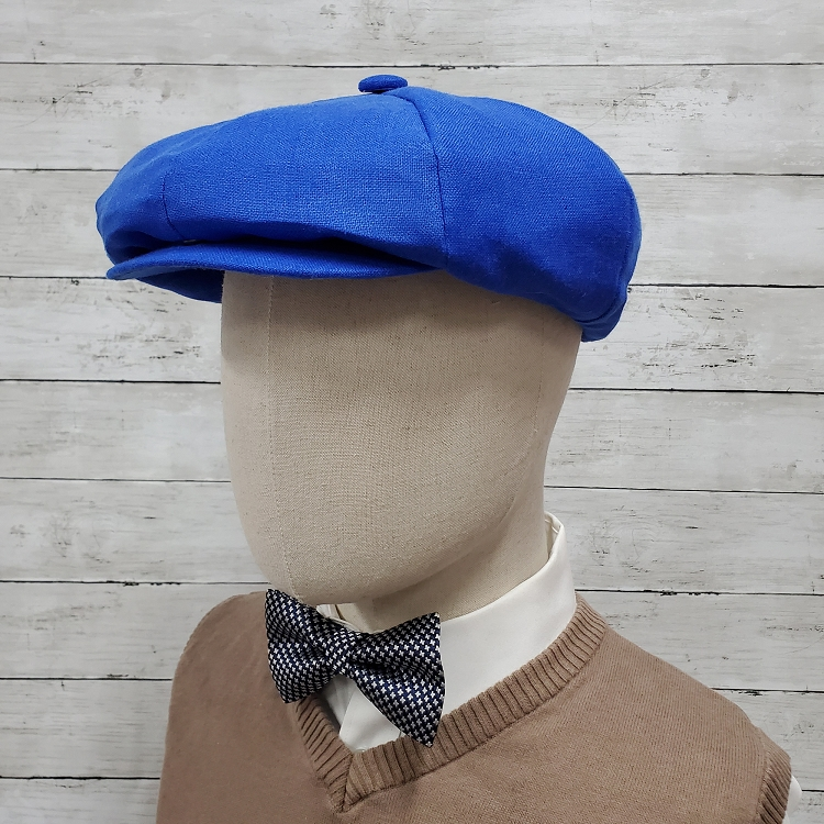 Royal Blue Linen Apple Newsboy Cap