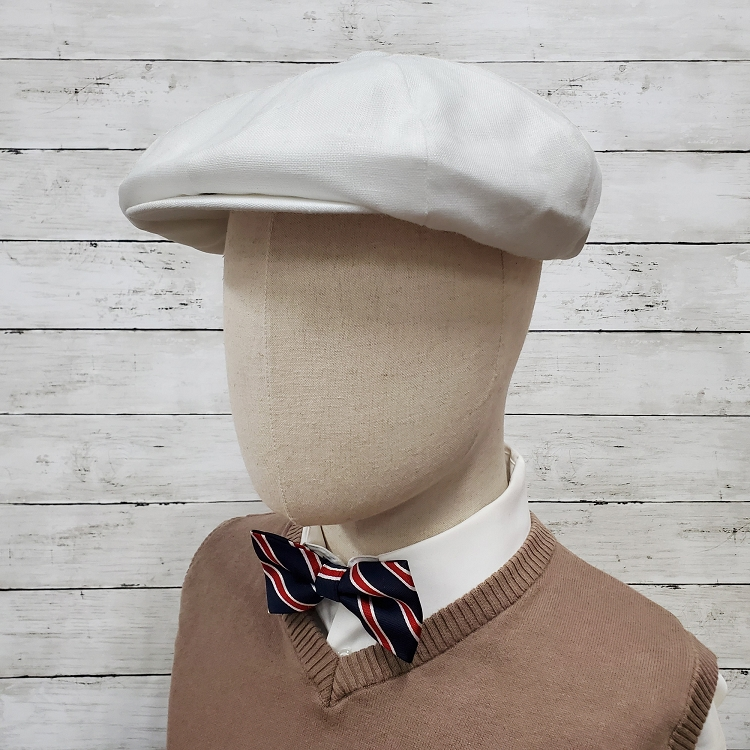 Navy Linen Apple Newsboy Cap