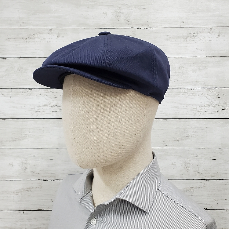 Navy Eco Twill Slim Newsboy Cap