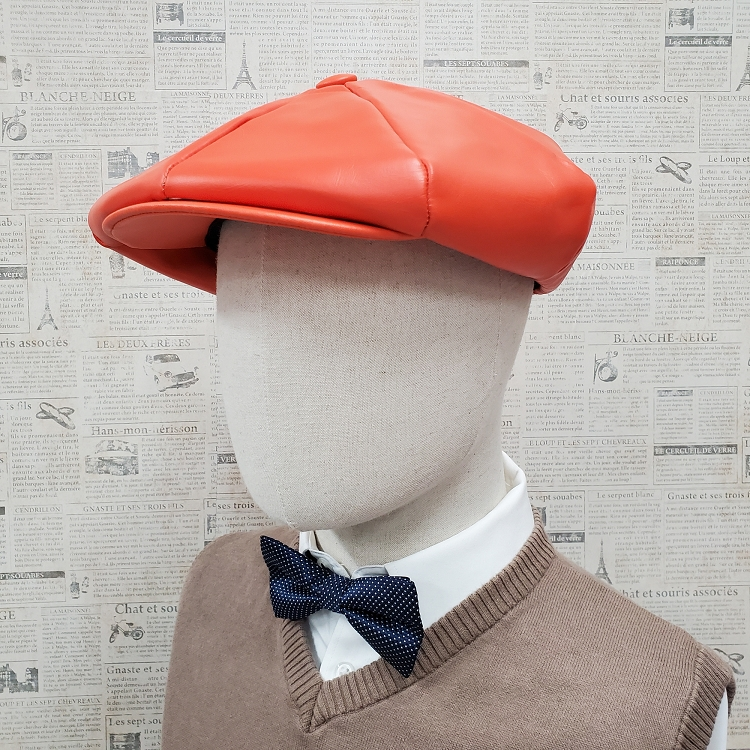 Orange Cowhide Leather Apple Newsboy Cap