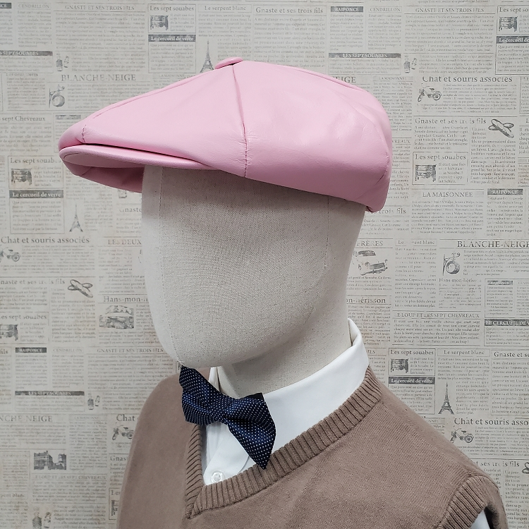 Pink Cowhide Leather Apple Newsboy Cap