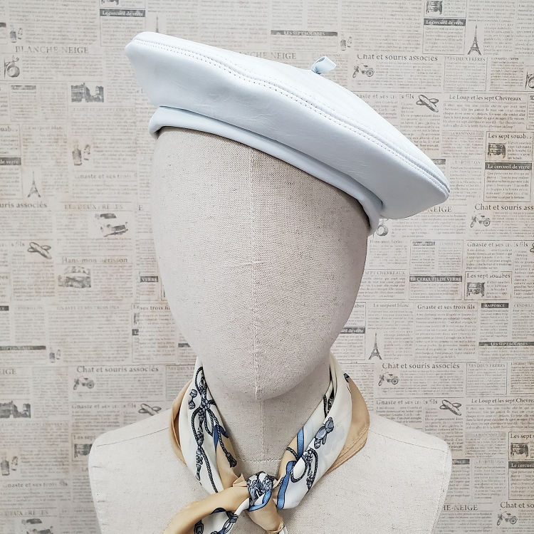 White Genuine Leather Beret