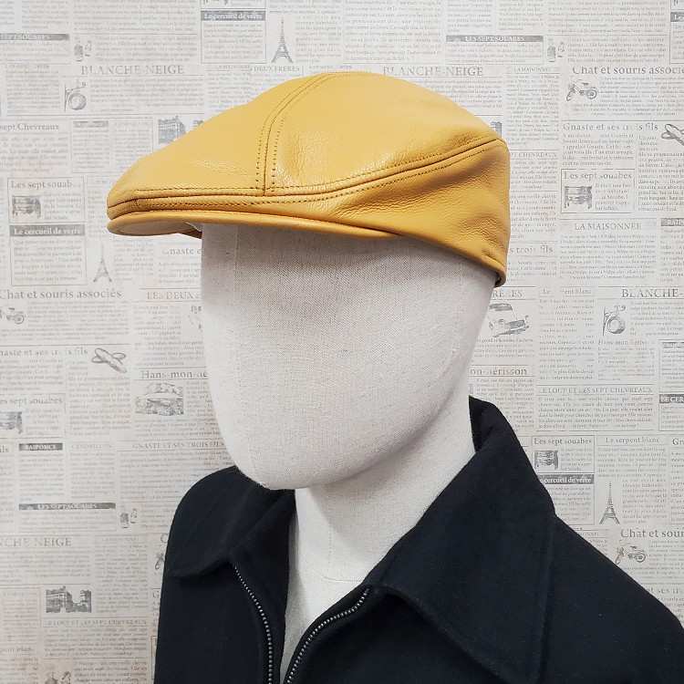 Gold Pebble Leather Ascot Ivy Driver Cap