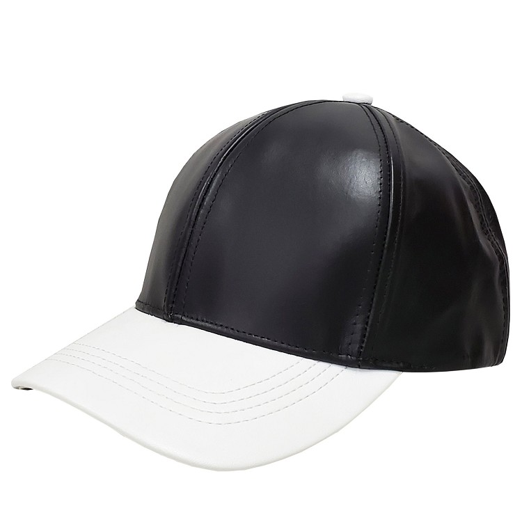 Black White Two Tone Cowhide Leather Baseball Cap