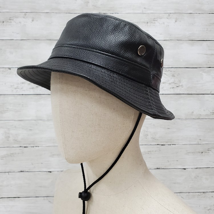 Siena Leather Bucket Hat Black