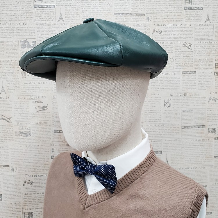 Hunter Green Cowhide Leather Apple Newsboy Cap