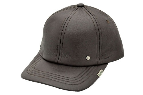 Premium Lambskin Leather Baseball Cap Dark Brown