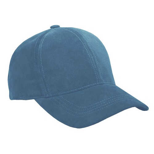 Slate Blue Suede Leather Baseball Cap