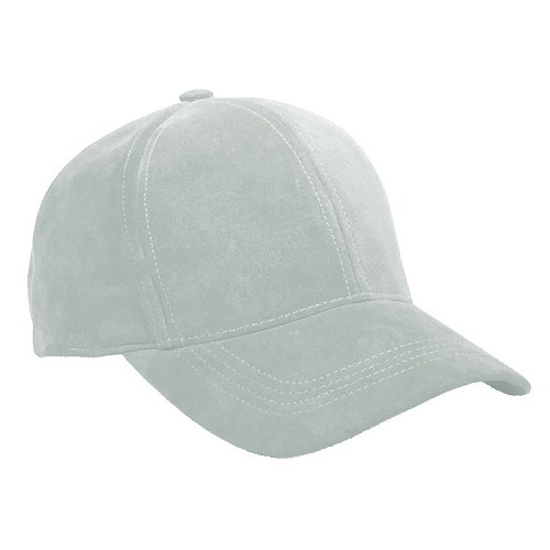 Light Grey Suede Leather Baseball Cap