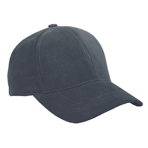 Navy Suede Leather Baseball Cap