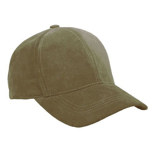 Olive Suede Leather Baseball Cap