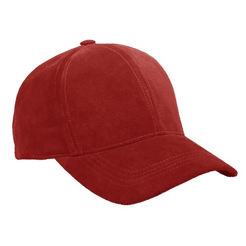 Red Suede Leather Baseball Cap