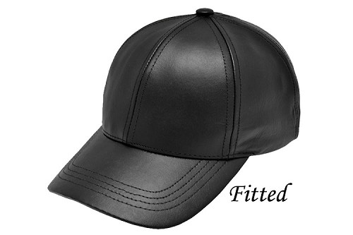 Fitted Black Leather Baseball Cap