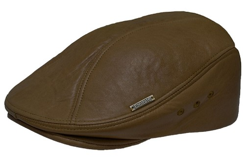 Brown Emstate Lambskin Leather Ascot Ivy Driver Cap