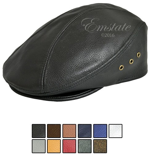 Emstate Genuine Pebble Leather Ascot Ivy Driver Cap 9 Different Colors