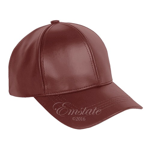 Classic Leather Baseball Cap Burgundy