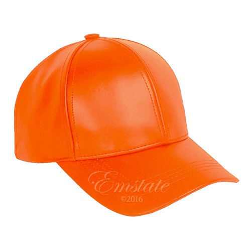 Classic Leather Baseball Cap Orange