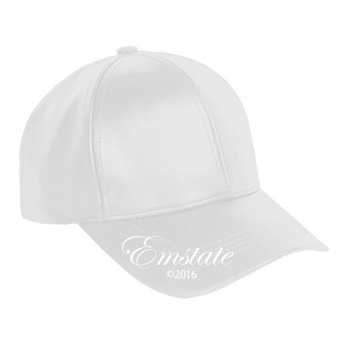 White Leather Baseball Cap