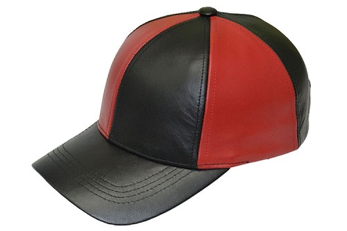Black Red Patch Combo Leather Baseball Cap