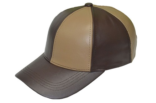 Brown/Khaki Patch Combo Leather Baseball Cap