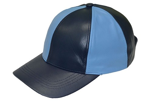 Navy Sky Patch Combo Leather Baseball Cap